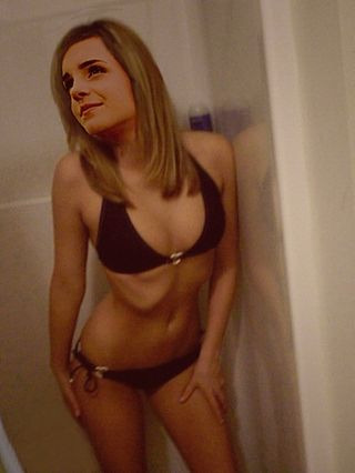 This is kind of a nice picture of Emma Watson in a bikini.